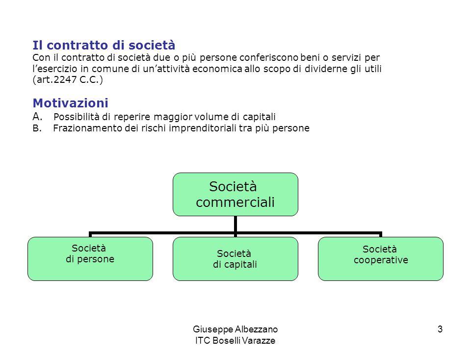 Giuseppe Albezzano ITC Boselli Varazze 3 Il contratto di società Con il contratto di società due o più persone conferiscono beni o servizi per l'eserc