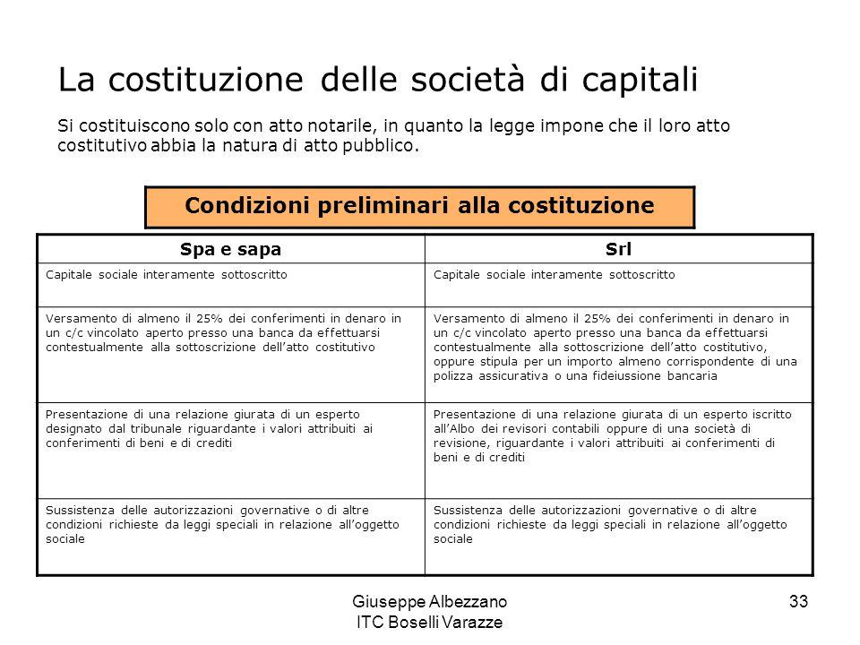 Giuseppe Albezzano ITC Boselli Varazze 33 La costituzione delle società di capitali Si costituiscono solo con atto notarile, in quanto la legge impone