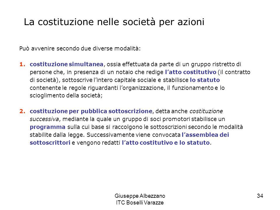 Giuseppe Albezzano ITC Boselli Varazze 34 La costituzione nelle società per azioni Può avvenire secondo due diverse modalità: 1.costituzione simultane