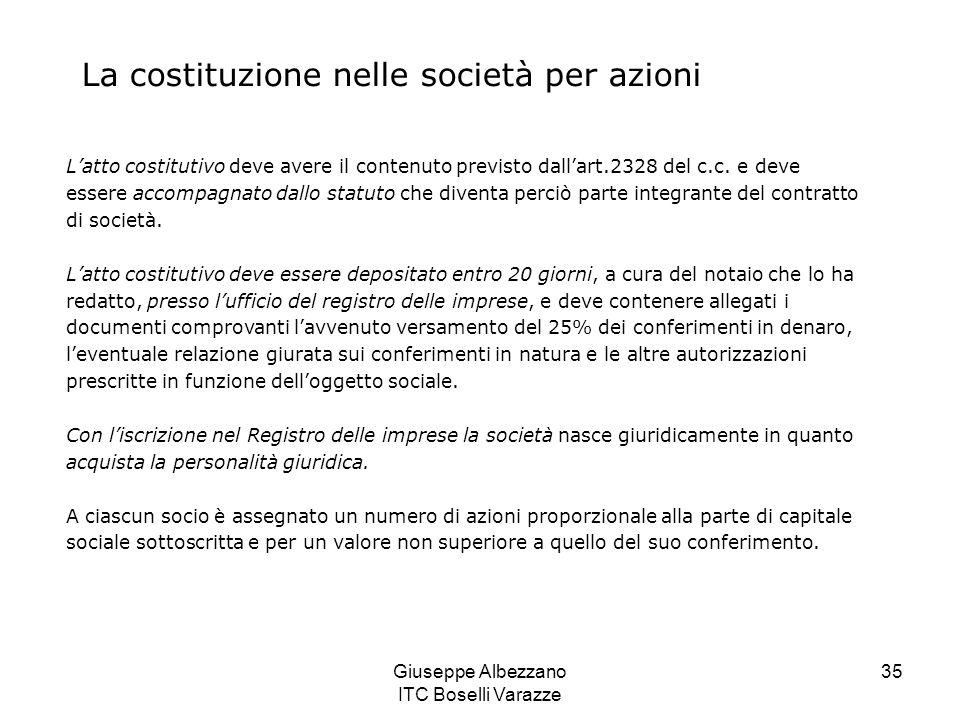 Giuseppe Albezzano ITC Boselli Varazze 35 L'atto costitutivo deve avere il contenuto previsto dall'art.2328 del c.c. e deve essere accompagnato dallo