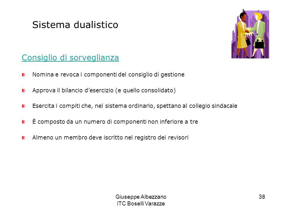 Giuseppe Albezzano ITC Boselli Varazze 38 Sistema dualistico Consiglio di sorveglianza Nomina e revoca i componenti del consiglio di gestione Approva