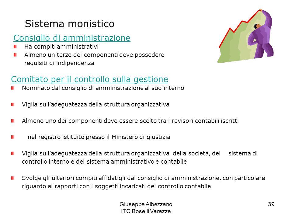 Giuseppe Albezzano ITC Boselli Varazze 39 Sistema monistico Consiglio di amministrazione Ha compiti amministrativi Almeno un terzo dei componenti deve