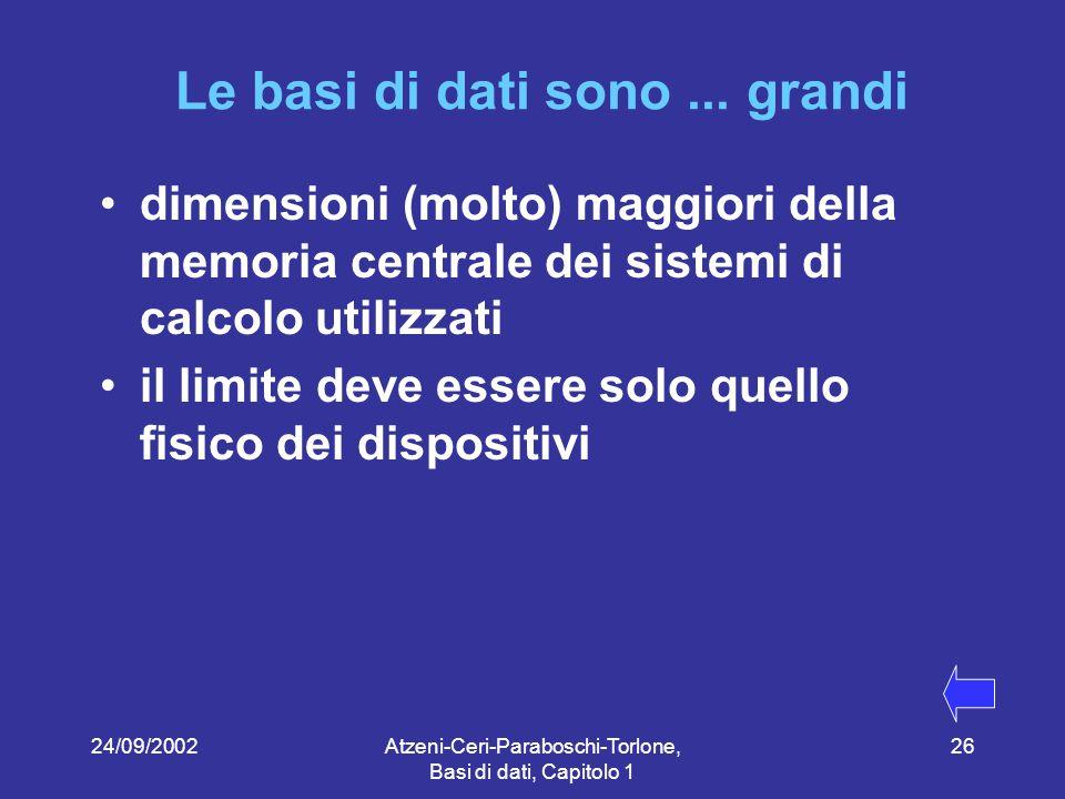 24/09/2002Atzeni-Ceri-Paraboschi-Torlone, Basi di dati, Capitolo 1 26 Le basi di dati sono...