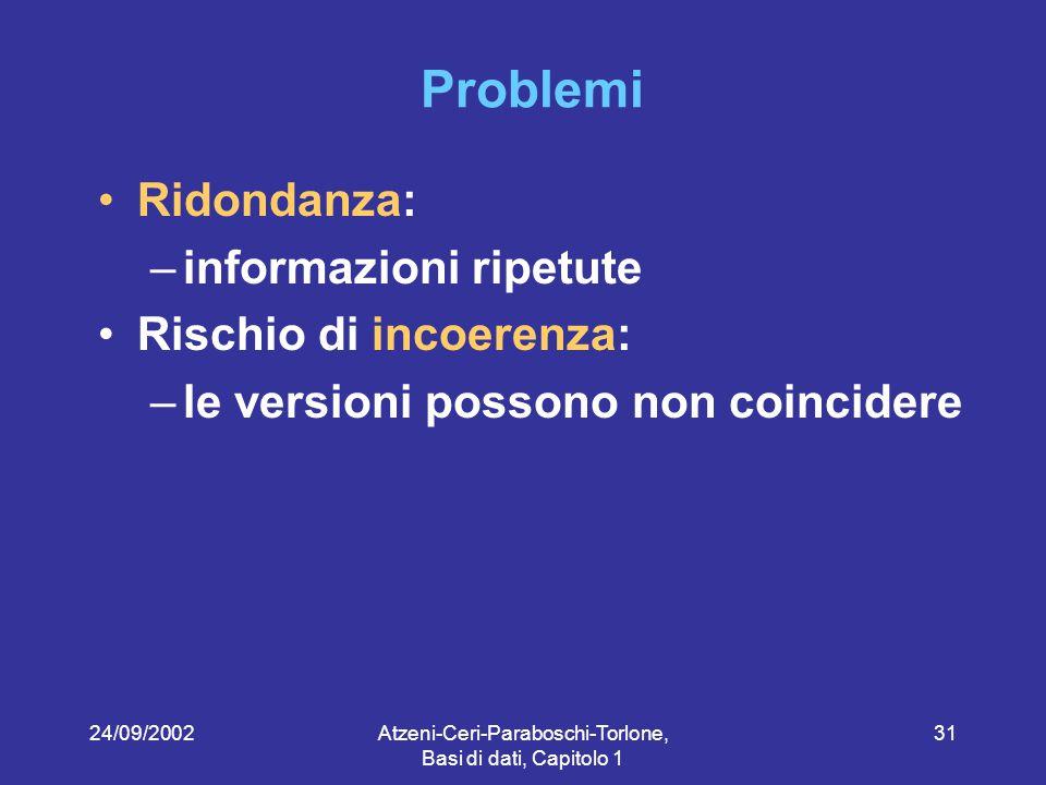 24/09/2002Atzeni-Ceri-Paraboschi-Torlone, Basi di dati, Capitolo 1 31 Problemi Ridondanza: –informazioni ripetute Rischio di incoerenza: –le versioni possono non coincidere