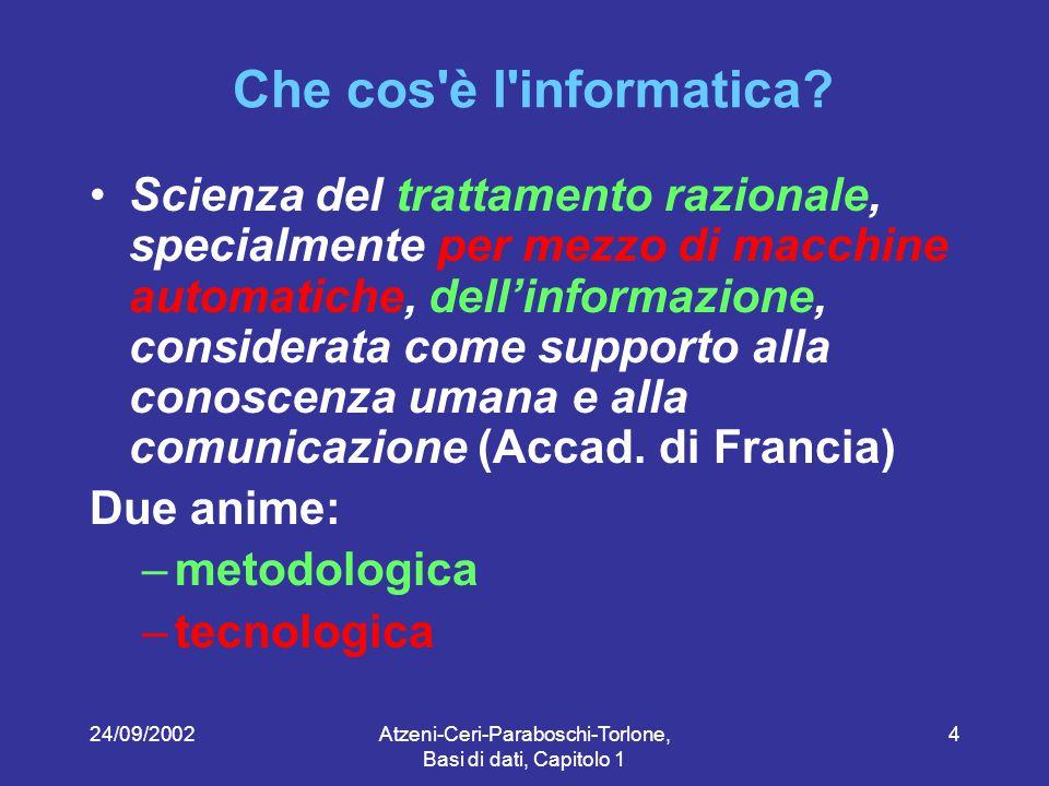 24/09/2002Atzeni-Ceri-Paraboschi-Torlone, Basi di dati, Capitolo 1 5 Contenuti modelli per l organizzazione dei dati linguaggi per l utilizzo dei dati sistemi per la gestione dei dati metodologie di progettazione di basi di dati Il corso