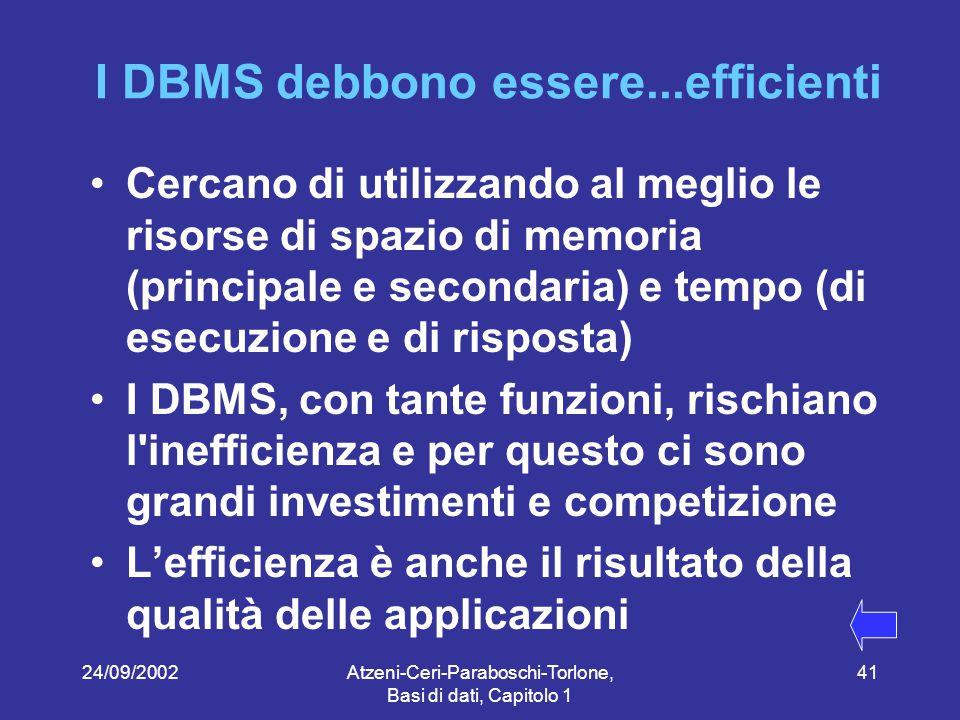 24/09/2002Atzeni-Ceri-Paraboschi-Torlone, Basi di dati, Capitolo 1 41 I DBMS debbono essere...efficienti Cercano di utilizzando al meglio le risorse di spazio di memoria (principale e secondaria) e tempo (di esecuzione e di risposta) I DBMS, con tante funzioni, rischiano l inefficienza e per questo ci sono grandi investimenti e competizione L'efficienza è anche il risultato della qualità delle applicazioni