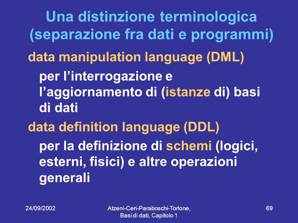 24/09/2002Atzeni-Ceri-Paraboschi-Torlone, Basi di dati, Capitolo 1 69 Una distinzione terminologica (separazione fra dati e programmi) data manipulation language (DML) per l'interrogazione e l'aggiornamento di (istanze di) basi di dati data definition language (DDL) per la definizione di schemi (logici, esterni, fisici) e altre operazioni generali