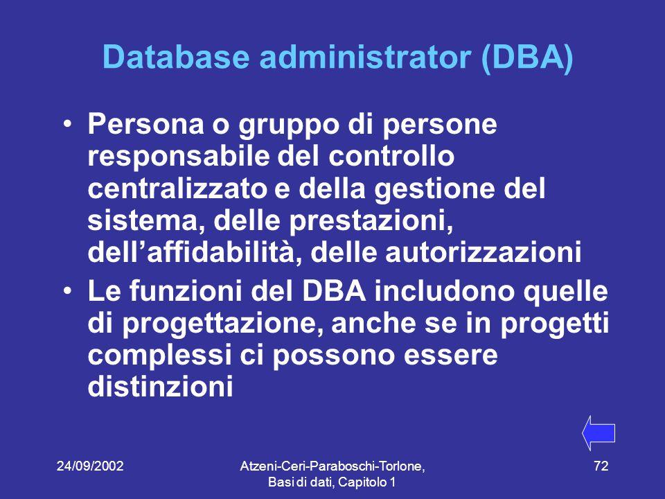 24/09/2002Atzeni-Ceri-Paraboschi-Torlone, Basi di dati, Capitolo 1 72 Database administrator (DBA) Persona o gruppo di persone responsabile del controllo centralizzato e della gestione del sistema, delle prestazioni, dell'affidabilità, delle autorizzazioni Le funzioni del DBA includono quelle di progettazione, anche se in progetti complessi ci possono essere distinzioni