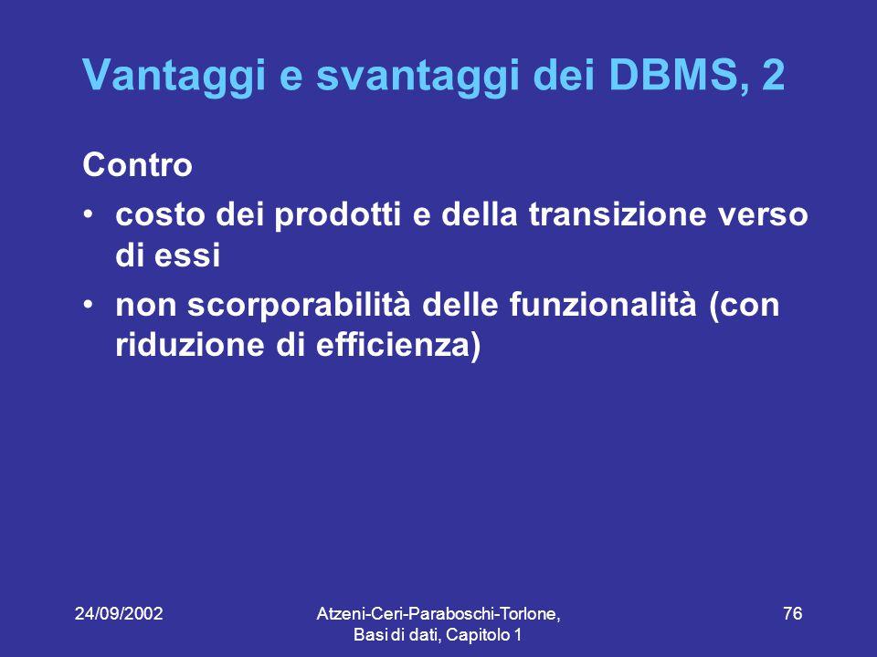 24/09/2002Atzeni-Ceri-Paraboschi-Torlone, Basi di dati, Capitolo 1 76 Vantaggi e svantaggi dei DBMS, 2 Contro costo dei prodotti e della transizione verso di essi non scorporabilità delle funzionalità (con riduzione di efficienza)