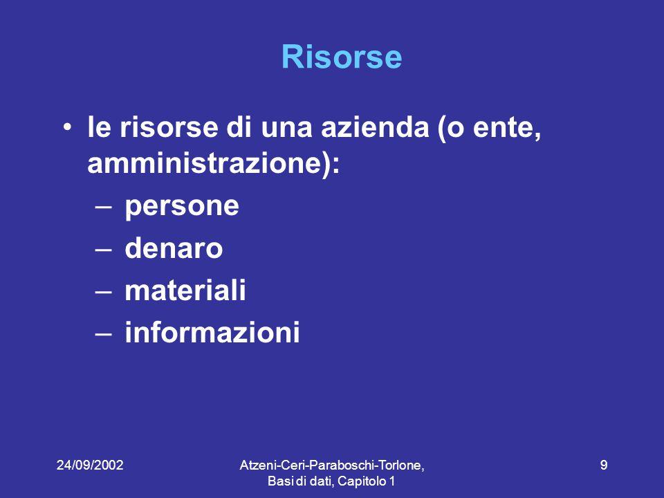 24/09/2002Atzeni-Ceri-Paraboschi-Torlone, Basi di dati, Capitolo 1 20 Perché i dati.