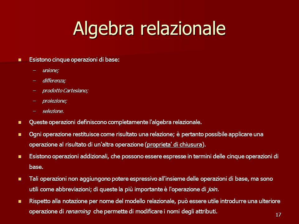 17 Algebra relazionale Esistono cinque operazioni di base: Esistono cinque operazioni di base: –unione; –differenza; –prodotto Cartesiano; –proiezione; –selezione.