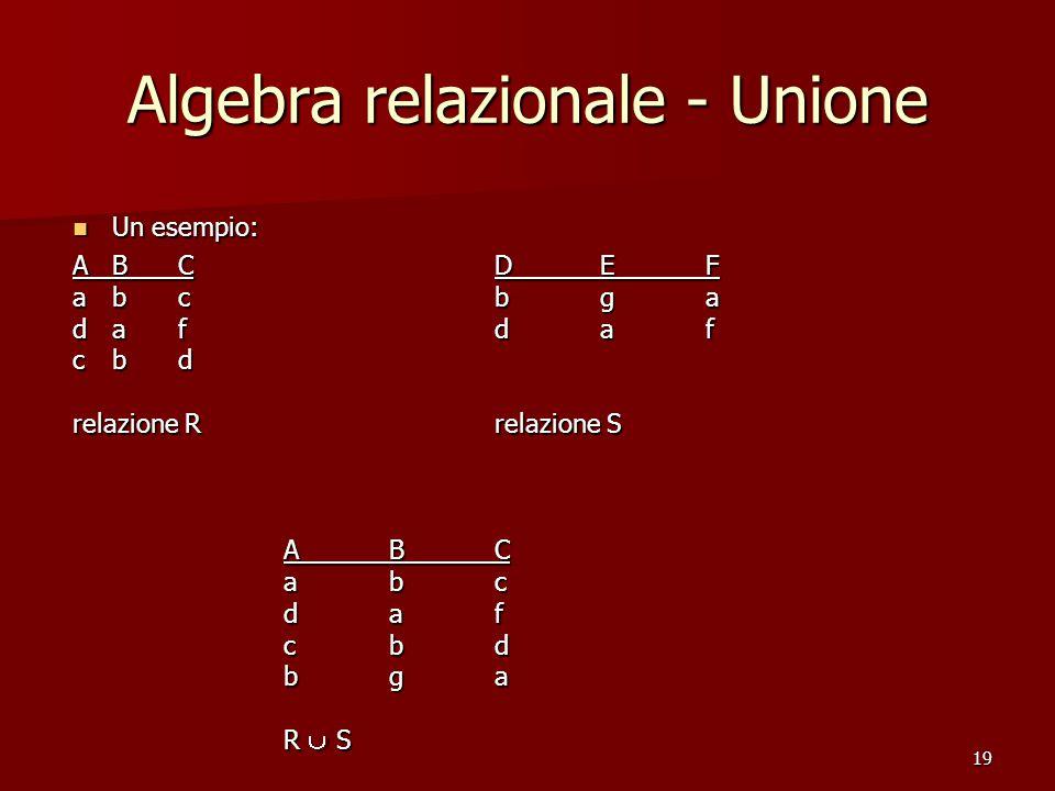 19 Algebra relazionale - Unione Un esempio: Un esempio: ABCDEF abcbga dafdaf cbd relazione Rrelazione S ABC abc daf cbd bga R  S