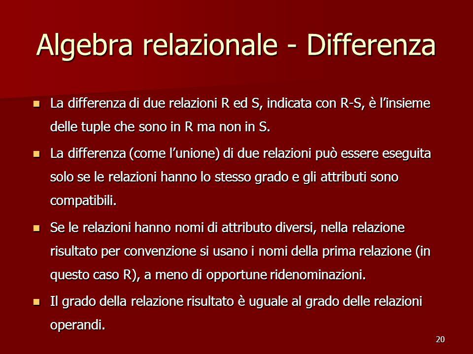 20 Algebra relazionale - Differenza La differenza di due relazioni R ed S, indicata con R-S, è l'insieme delle tuple che sono in R ma non in S.