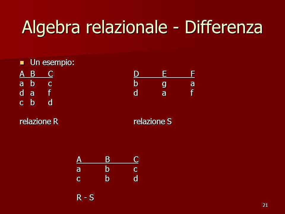 21 Algebra relazionale - Differenza Un esempio: Un esempio: ABCDEF abcbga dafdaf cbd relazione Rrelazione S ABC abc cbd R - S