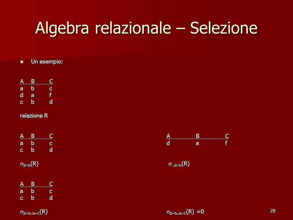 28 Algebra relazionale – Selezione Un esempio: Un esempio: ABC abc daf cbd relazione R ABCABC abcdaf cbd  B=b (R)   B=b (R) ABC abc cbd  B=b  A=C (R)  B=b  A=C (R) =0