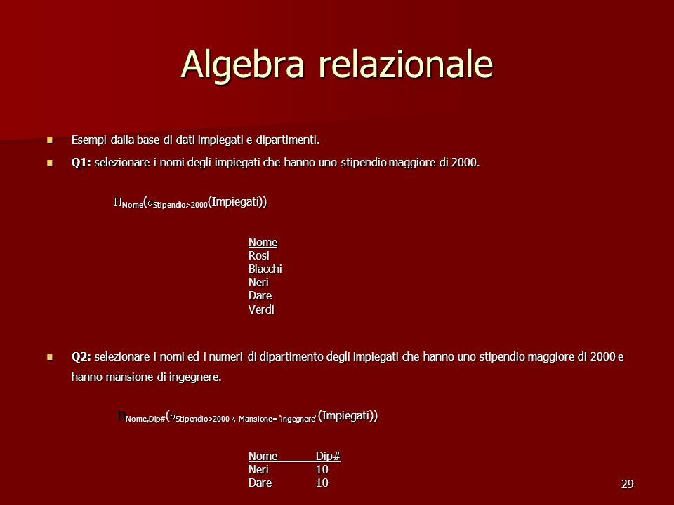 29 Algebra relazionale Esempi dalla base di dati impiegati e dipartimenti. Esempi dalla base di dati impiegati e dipartimenti. Q1: selezionare i nomi