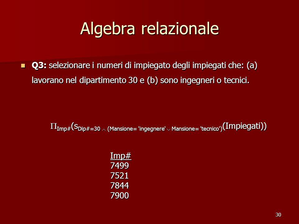 30 Algebra relazionale Q3: selezionare i numeri di impiegato degli impiegati che: (a) lavorano nel dipartimento 30 e (b) sono ingegneri o tecnici. Q3: