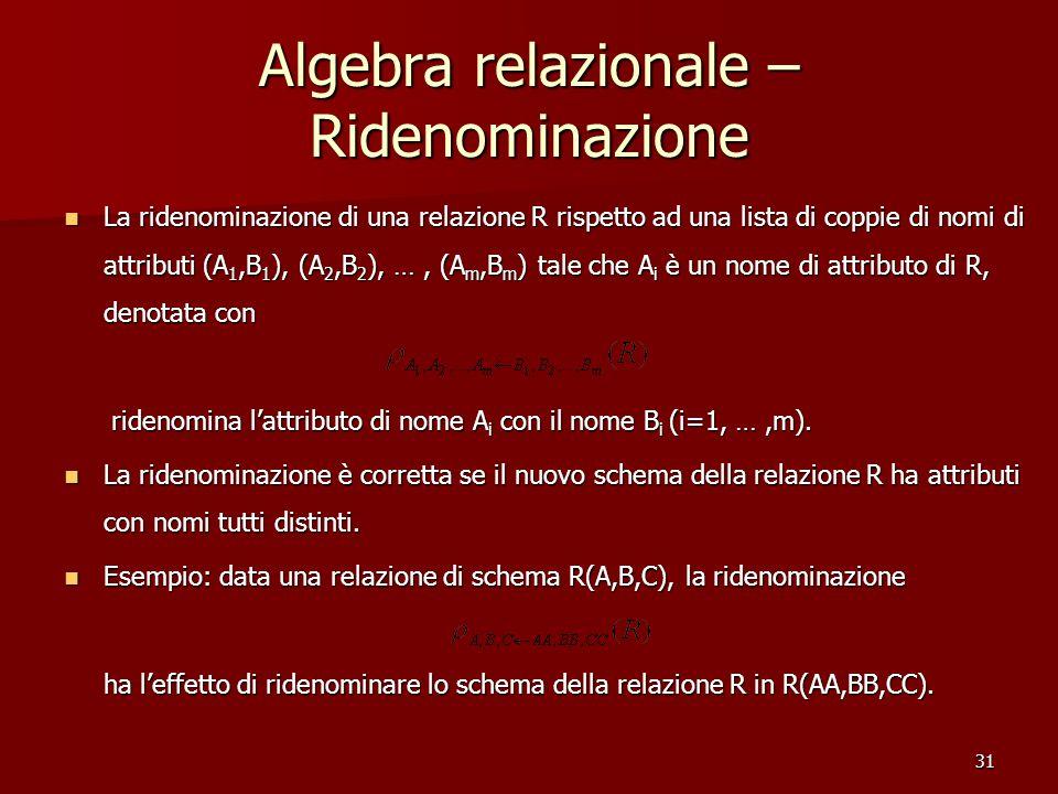 31 Algebra relazionale – Ridenominazione La ridenominazione di una relazione R rispetto ad una lista di coppie di nomi di attributi (A 1,B 1 ), (A 2,B 2 ), …, (A m,B m ) tale che A i è un nome di attributo di R, denotata con La ridenominazione di una relazione R rispetto ad una lista di coppie di nomi di attributi (A 1,B 1 ), (A 2,B 2 ), …, (A m,B m ) tale che A i è un nome di attributo di R, denotata con ridenomina l'attributo di nome A i con il nome B i (i=1, …,m).