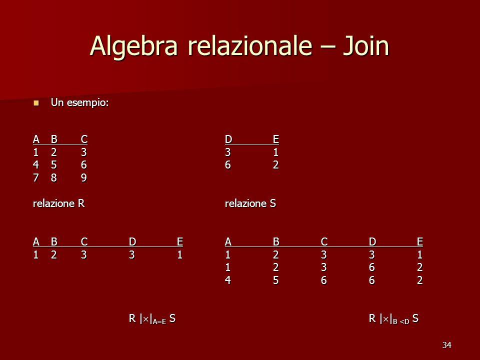 34 Algebra relazionale – Join Un esempio: Un esempio: ABCDE 12331 45662 789 relazione Rrelazione S ABCDEABCDE 1233112331 12362 45662 R |  | A=E SR |  | B <D S
