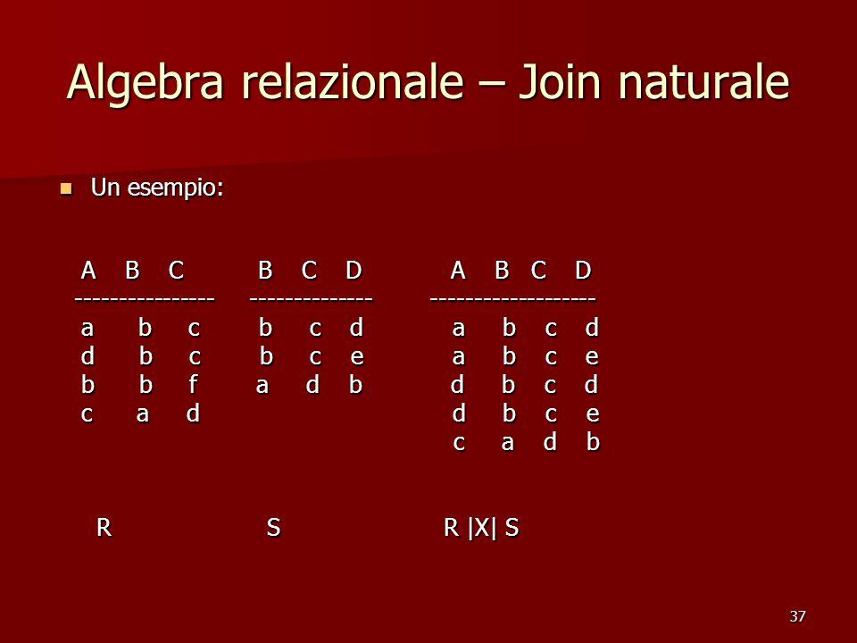 37 Algebra relazionale – Join naturale Un esempio: Un esempio: A B C B C D A B C D A B C B C D A B C D ---------------- -------------- ------------------- ---------------- -------------- ------------------- a b c b c d a b c d a b c b c d a b c d d b c b c e a b c e d b c b c e a b c e b b f a d b d b c d b b f a d b d b c d c a d d b c e c a d d b c e c a d b c a d b R S R |X| S R S R |X| S