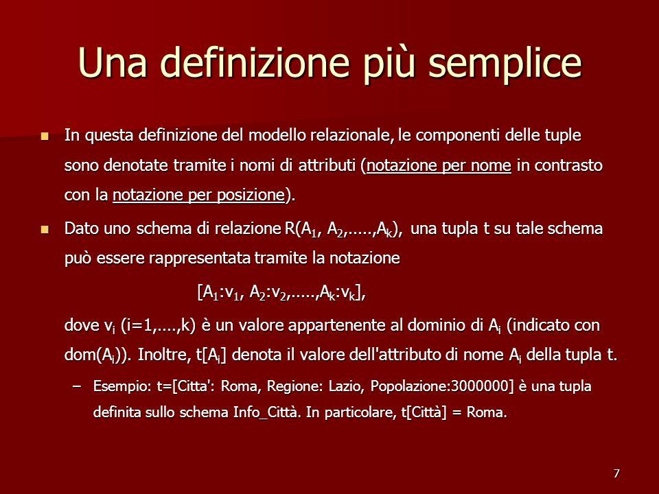 7 Una definizione più semplice In questa definizione del modello relazionale, le componenti delle tuple sono denotate tramite i nomi di attributi (notazione per nome in contrasto con la notazione per posizione).