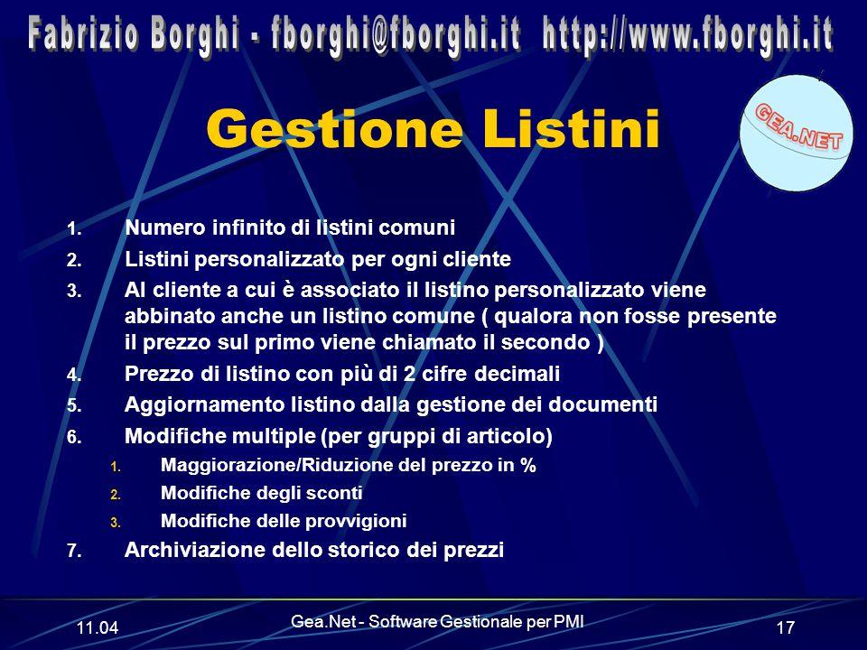 11.06 Gea.Net - Software Gestionale per PMI 17 Gestione Listini 1.