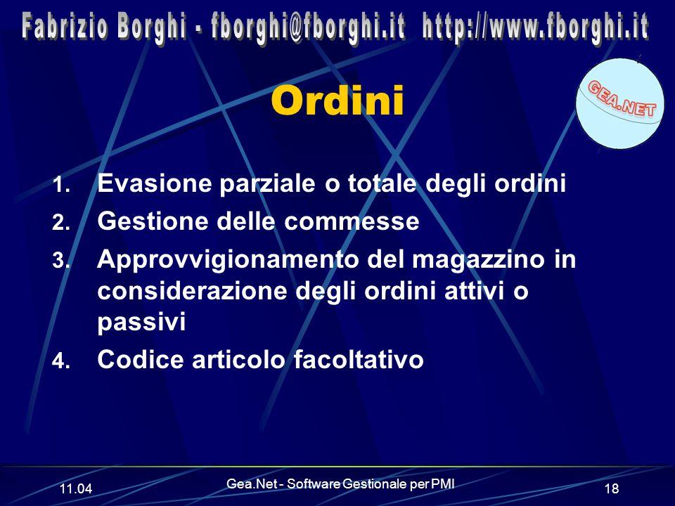 11.06 Gea.Net - Software Gestionale per PMI 18 Ordini 1.