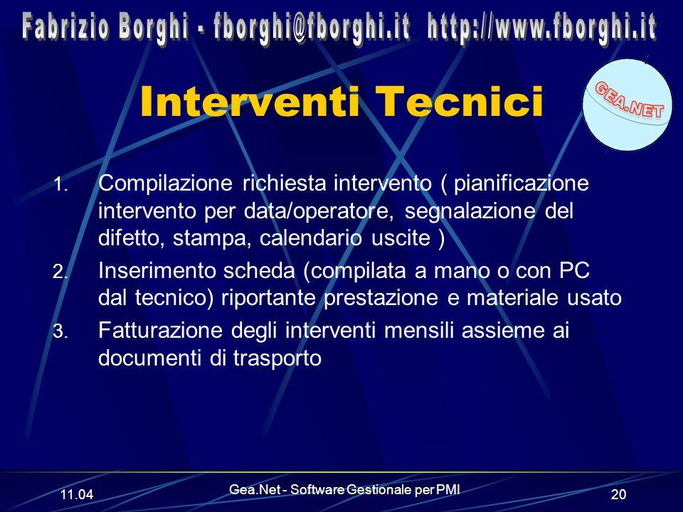 11.06 Gea.Net - Software Gestionale per PMI 20 Interventi Tecnici 1.