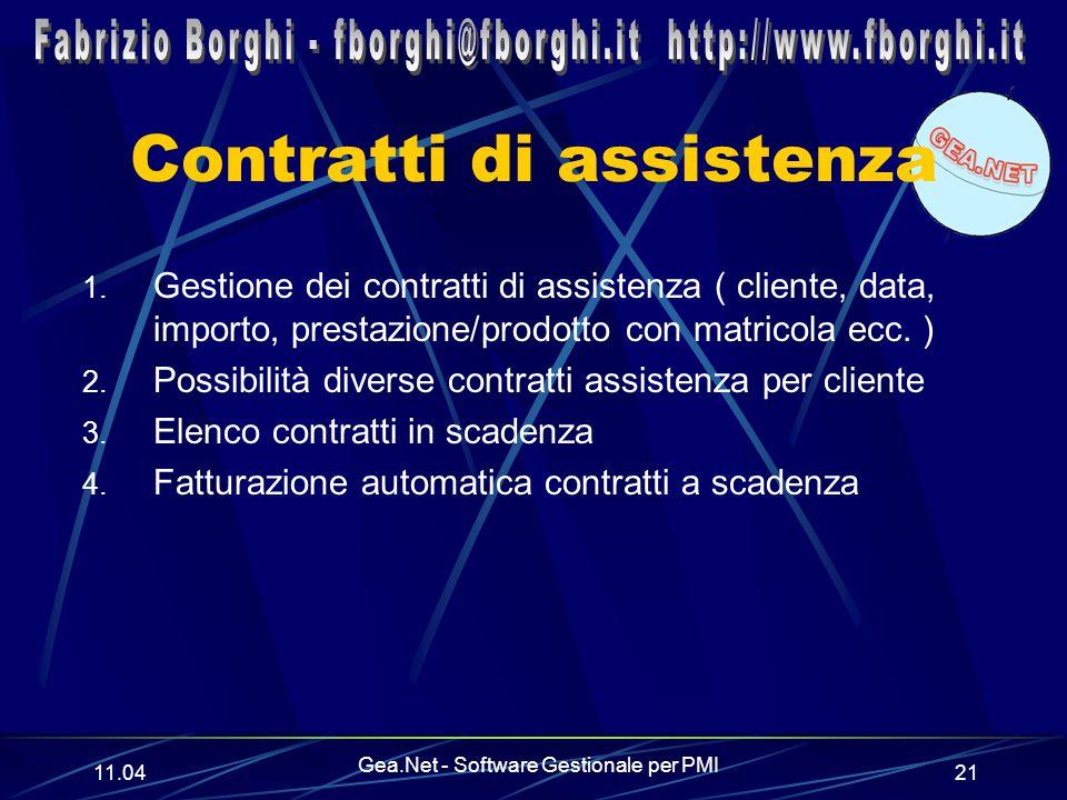 11.06 Gea.Net - Software Gestionale per PMI 21 Contratti di assistenza 1.