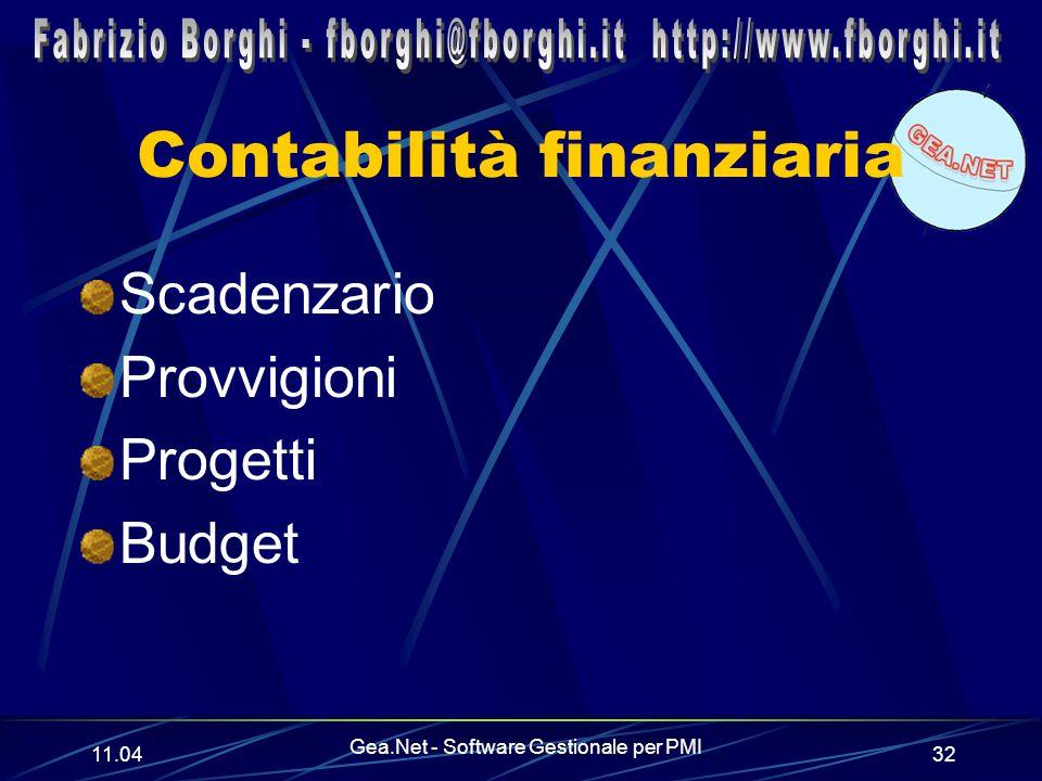 11.06 Gea.Net - Software Gestionale per PMI 32 Contabilità finanziaria Scadenzario Provvigioni Progetti Budget