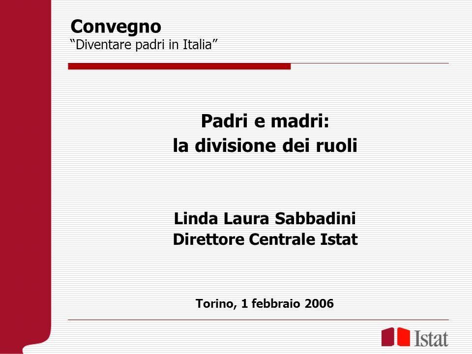 Convegno Diventare padri in Italia Padri e madri: la divisione dei ruoli Linda Laura Sabbadini Direttore Centrale Istat Torino, 1 febbraio 2006