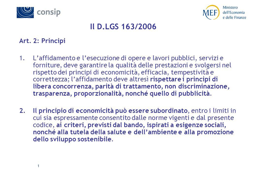 1 Il D.LGS 163/2006 Art.