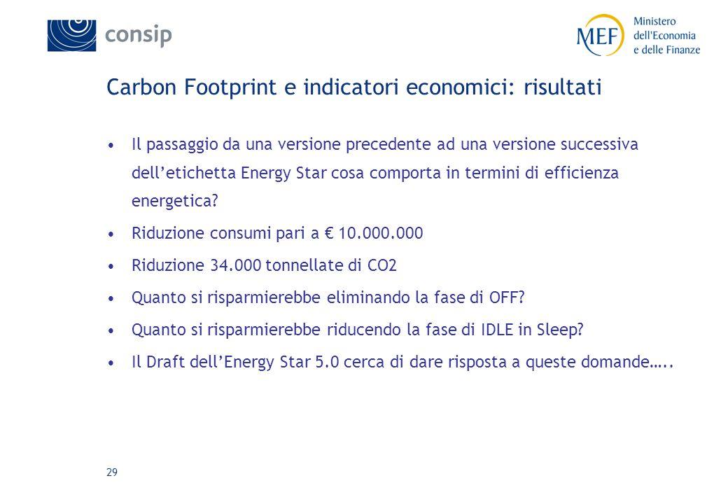 29 Carbon Footprint e indicatori economici: risultati Il passaggio da una versione precedente ad una versione successiva dell'etichetta Energy Star cosa comporta in termini di efficienza energetica.