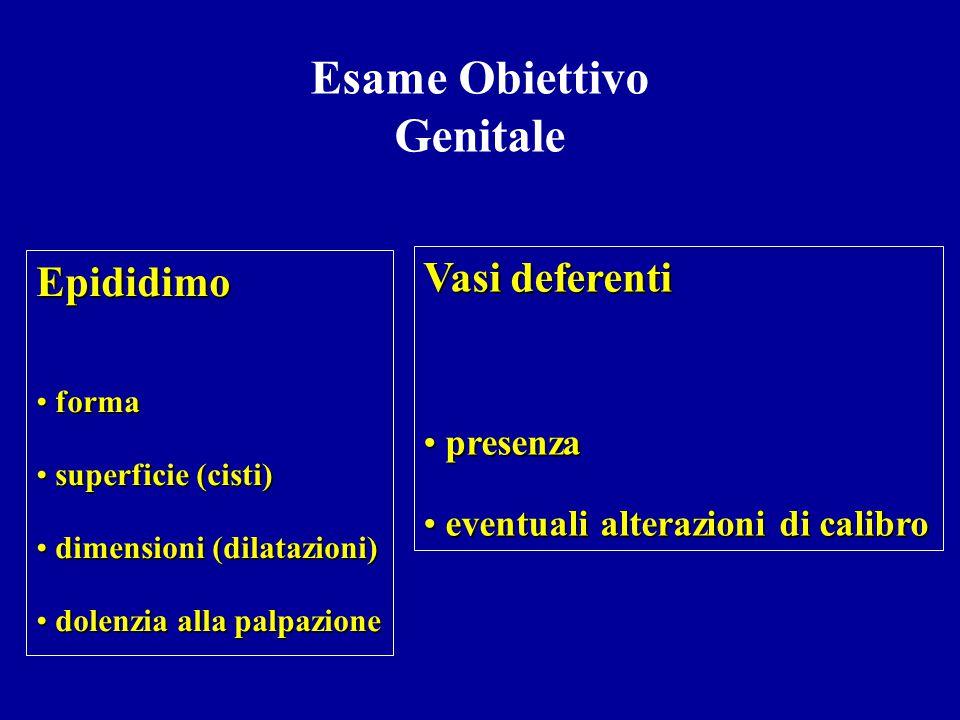 Esame Obiettivo Genitale Pene aspetto e dimensioni sede del meato uretrale presenza di corde peniene balanopostite secrezioni uretrali