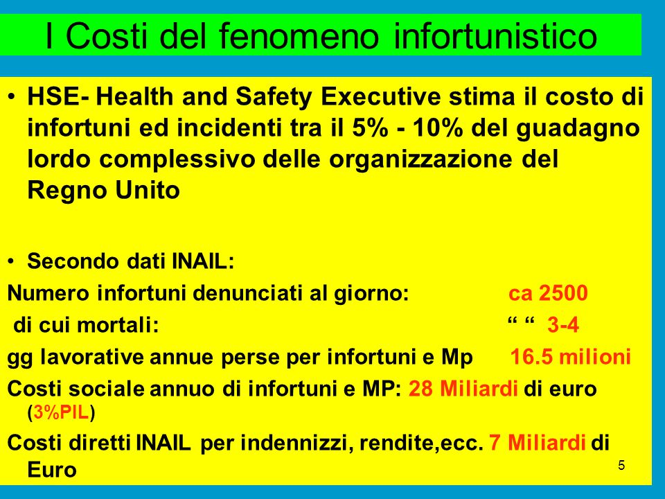I Costi del fenomeno infortunistico HSE- Health and Safety Executive stima il costo di infortuni ed incidenti tra il 5% - 10% del guadagno lordo compl