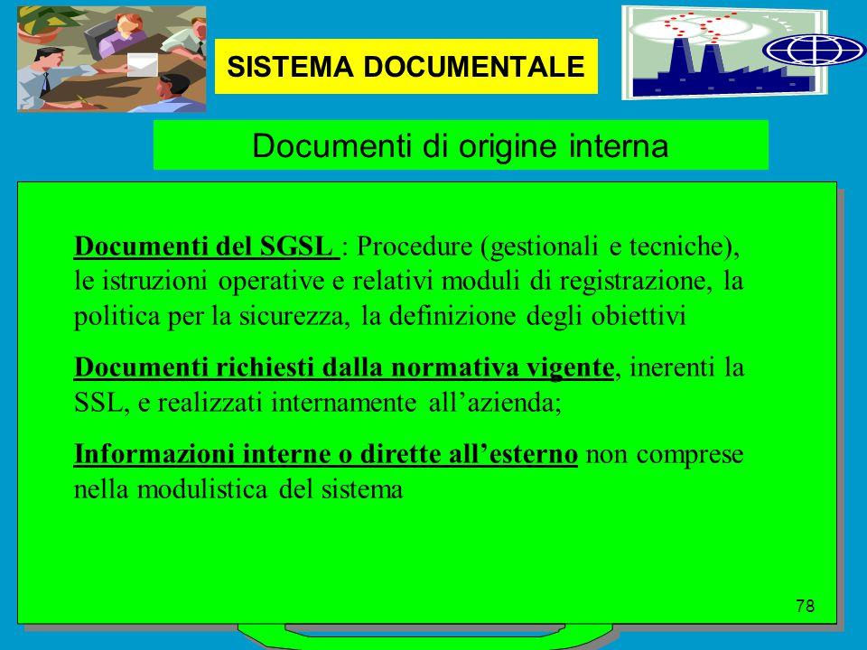 SISTEMA DOCUMENTALE Documenti di origine interna Documenti del SGSL : Procedure (gestionali e tecniche), le istruzioni operative e relativi moduli di registrazione, la politica per la sicurezza, la definizione degli obiettivi Documenti richiesti dalla normativa vigente, inerenti la SSL, e realizzati internamente all'azienda; Informazioni interne o dirette all'esterno non comprese nella modulistica del sistema 78
