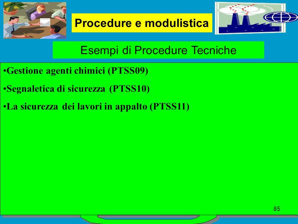 Procedure e modulistica Esempi di Procedure Tecniche Gestione agenti chimici (PTSS09) Segnaletica di sicurezza (PTSS10) La sicurezza dei lavori in appalto (PTSS11) 85