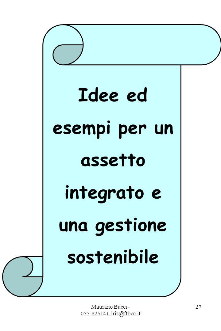 Maurizio Bacci - 055.825141, iris@ftbcc.it 27 Idee ed esempi per un assetto integrato e una gestione sostenibile