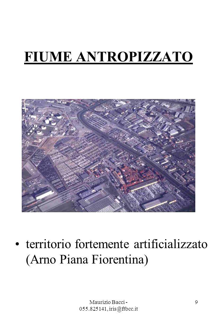 Maurizio Bacci - 055.825141, iris@ftbcc.it 9 FIUME ANTROPIZZATO territorio fortemente artificializzato (Arno Piana Fiorentina)