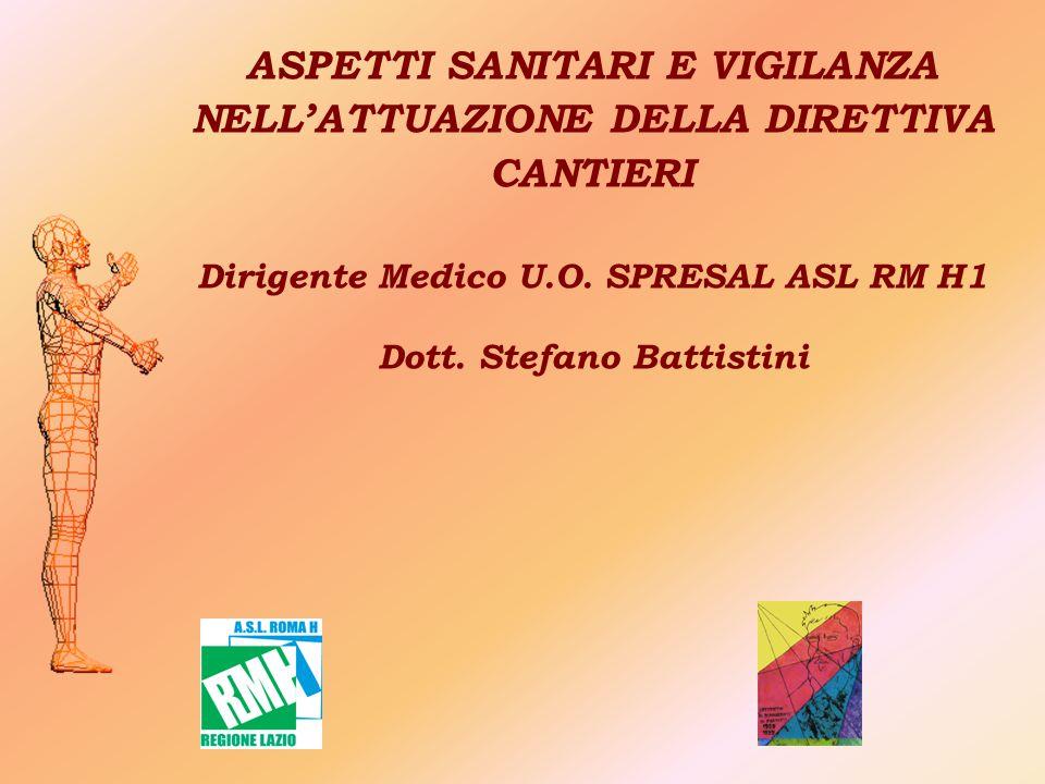 ASPETTI SANITARI E VIGILANZA NELL'ATTUAZIONE DELLA DIRETTIVA CANTIERI Dirigente Medico U.O. SPRESAL ASL RM H1 Dott. Stefano Battistini