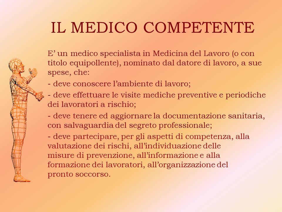 IL MEDICO COMPETENTE E' un medico specialista in Medicina del Lavoro (o con titolo equipollente), nominato dal datore di lavoro, a sue spese, che: - d