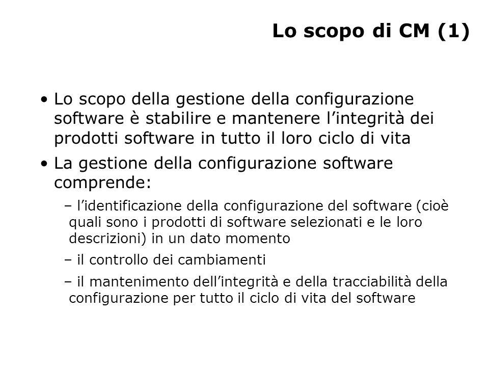Lo scopo di CM (2) CM risponde a domande come: – Quali sono i componenti del prodotto.