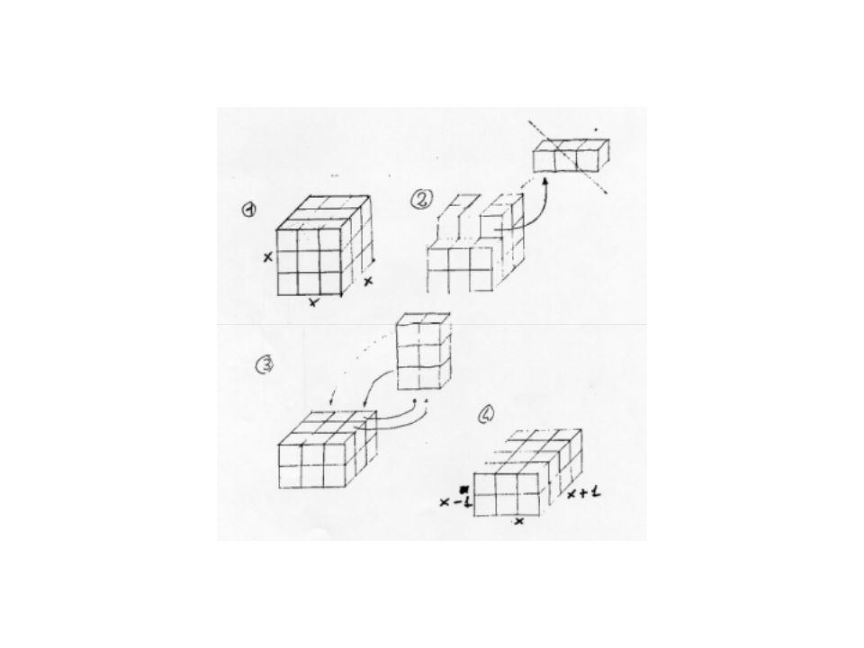 Problema: Prendiamo un cubo costituito a sua volta da cubetti più piccoli e tutti uguali tra loro. Se dal cubo togliamo una colonna di cubetti, il num