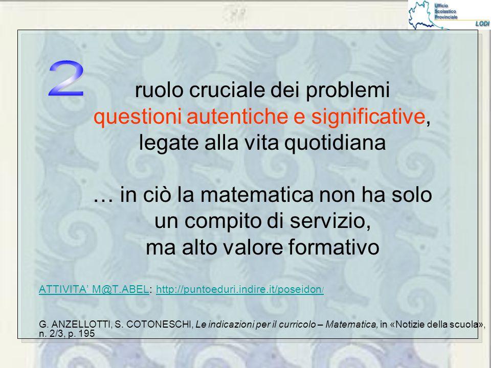 ruolo cruciale dei problemi questioni autentiche e significative, legate alla vita quotidiana … in ciò la matematica non ha solo un compito di servizio, ma alto valore formativo ATTIVITA' M@T.ABELATTIVITA' M@T.ABEL: http://puntoeduri.indire.it/poseidon /http://puntoeduri.indire.it/poseidon / G.