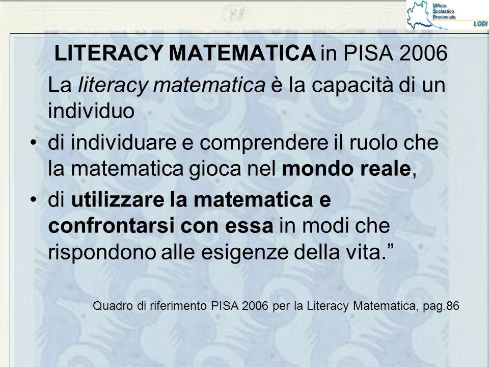 LITERACY MATEMATICA in PISA 2006 La literacy matematica è la capacità di un individuo di individuare e comprendere il ruolo che la matematica gioca nel mondo reale, di utilizzare la matematica e confrontarsi con essa in modi che rispondono alle esigenze della vita. Quadro di riferimento PISA 2006 per la Literacy Matematica, pag.86