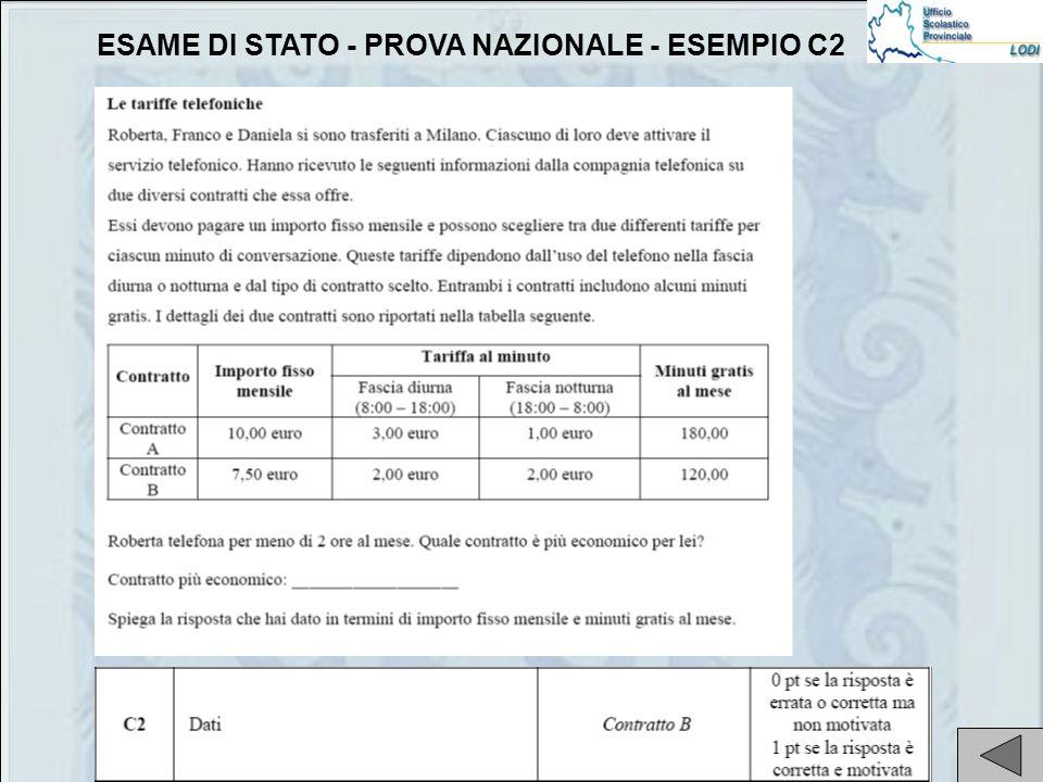 ESAME DI STATO - PROVA NAZIONALE - ESEMPIO C2