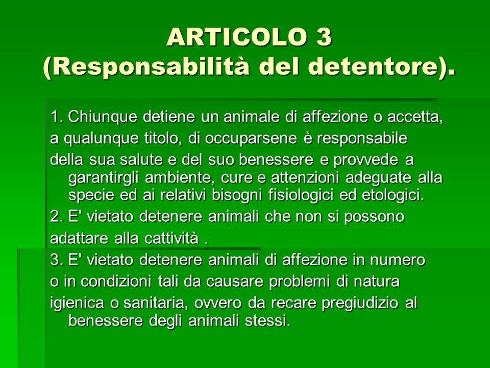 ARTICOLO 3 (Responsabilità del detentore). 1. Chiunque detiene un animale di affezione o accetta, a qualunque titolo, di occuparsene è responsabile de