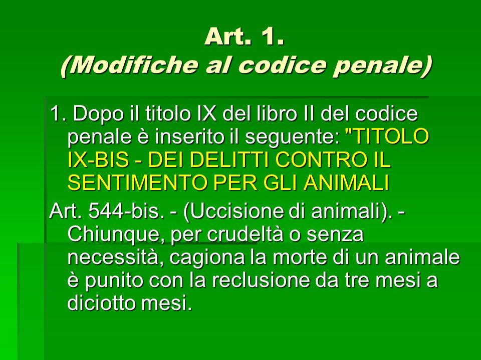 Art. 1. (Modifiche al codice penale) 1. Dopo il titolo IX del libro II del codice penale è inserito il seguente: