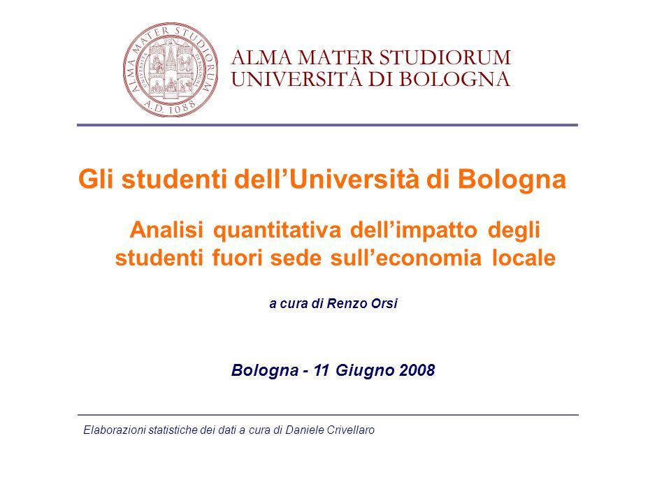 Bologna - 11 Giugno 2008 Gli studenti dell'Università di Bologna Analisi quantitativa dell'impatto degli studenti fuori sede sull'economia locale ALMA