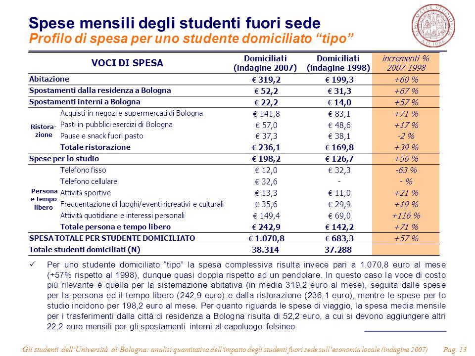 Gli studenti dell'Università di Bologna: analisi quantitativa dell'impatto degli studenti fuori sede sull'economia locale (indagine 2007) Pag. 13 Spes